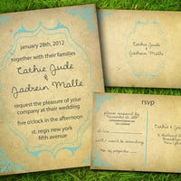 DIY Printable - Vintage Victorian Classic Damask Turquoise Customizable Wedding Invitation and RSVP Card Suite