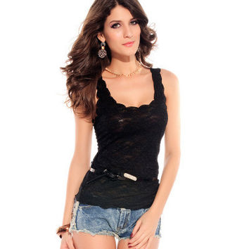 2017 Trending Fashion Summer Women Lace Lace Floral Printed Sleeveless Top Top Women Tank Vest T-Shirt _ 11377