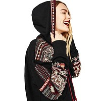 Boho Inspired Embroidered Sweatshirt Hoodie