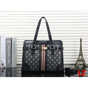 GUCCI Trending Ladies Stripe Leather Shoulder Bag Satchel Crossbody Handbag Black I-OM-NBPF