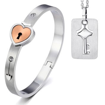 Heart Lock Bracelet Bangles with Lock Key Pendant Necklace