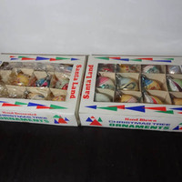Vintage Santa Land Set of 19 Multi-Colored Hand Blown Mercury Glass and Glitter Christmas Ornaments in Original Boxes