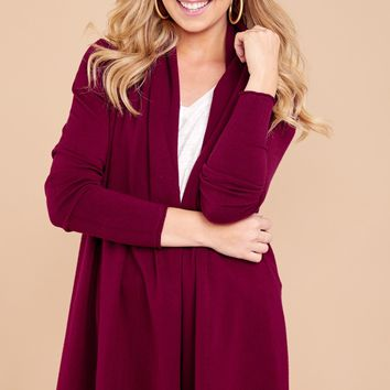 Comfy Burgundy Cardigan - Open Front Cardi - Sweater - $36.00