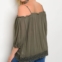 Olive Lace-Hem Off-Shoulder Top - Plus