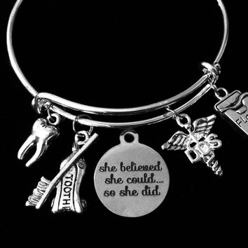 She Believed She Could Dentist Jewelry DDS Expandable Charm Bracelet Silver Tooth Floss Toothpaste Toothbrush Adjustable Wire Bangle One Size Fits All Gift Doctor Of Dental Surgery