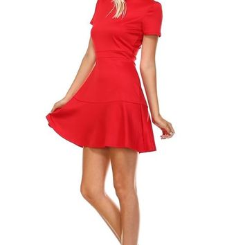 Womens High Neck RED Fit and Flare Dress All Sizes