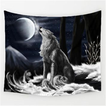 White Wolf Animal Wall Decor Tapestry
