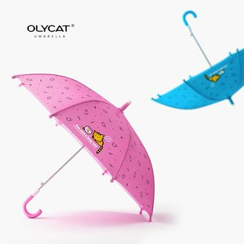 OLYCAT Brand Children's Umbrella Long Handle Windproof Light Weight Cute Cat Style Kids Umbrella Colors Quality Paraguas
