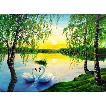 5D Diamond Painting Two Swans Under the Trees kit