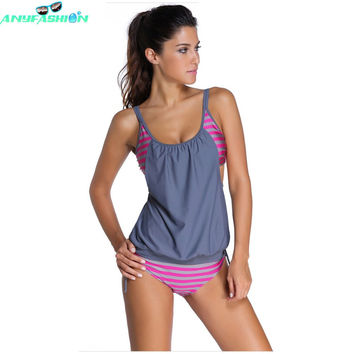New  swimwear women Stripes Lined Up Double Up Tankini Top maillot de bain bathing suit swimsuit 2 pieces suits