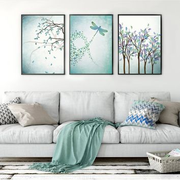 Nordic Posters And Prints Plant Wall Art Canvas Painting Dragonfly Wall Pictures For Living Room Modern Home Decor Watercolor