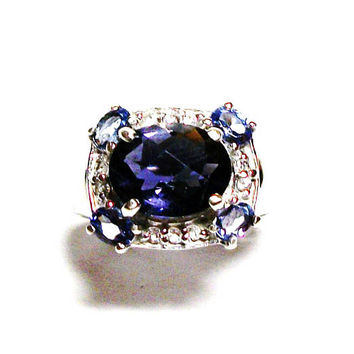 "Iolite, iolite ring, iolite engagement ring, blue wedding, blue white,  anniversary ring, s 6   ""Blue Wind"""