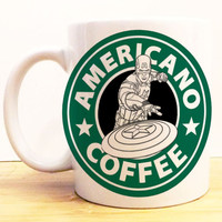 Captain America Americano Coffee Mug |  Avengers Civil War Starbucks | Disney Marvel