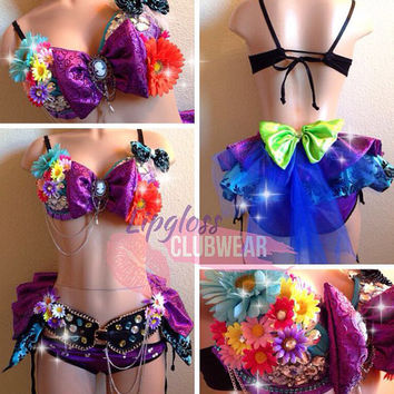 Girly Mad Hatter Rave Bra & Bottom, Costume Outfit For EDC, Ultra Music, EDM Festivals, tomorrowland, PLUR