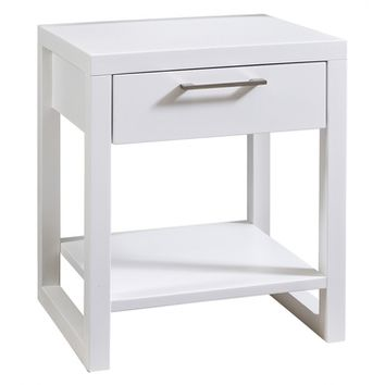Ligna Tribeca Collection 1 Drawer Nightstand in Snow White