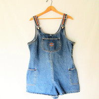 Vintage 1990s Rainbow Denim Route 66 Overall Shorts
