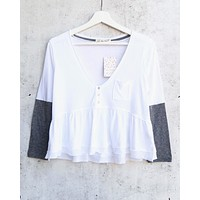 Free People Heart of Mine Colorblock Cotton Top in Ivory/Grey