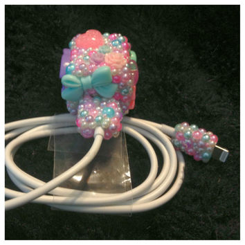 Cute Kawaii Girly Bling Pearl iPhone 5 Charger by HelloKatieCuties