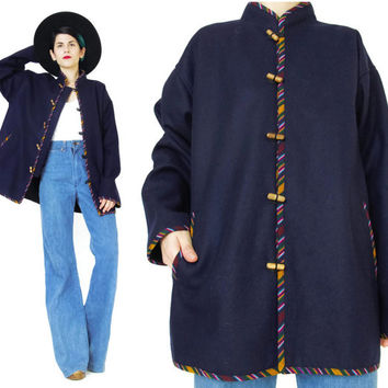 Vintage Ethnic Jacket Navy Wool Jacket Hippie Boho Jacket Mandarin Collar Guatemalan Coat Folk Southwestern Stripes Toggle Buttons (M/L)
