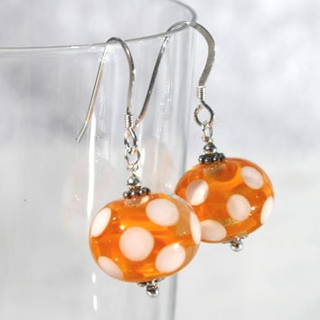 Polka Dots, Yellow Earrings, Easter, Lampwork Glass, Sterling Silver, Glass Jewelry, Dangle, Glass Earrings, Lampwork, Swedish Handmade