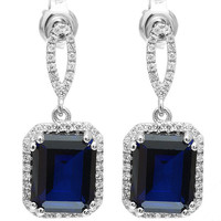 8.66ct Lab Created Blue Sapphire Square-Cut Dangle Fashion Earrings For Women – With Genuine 925 Sterling Silver