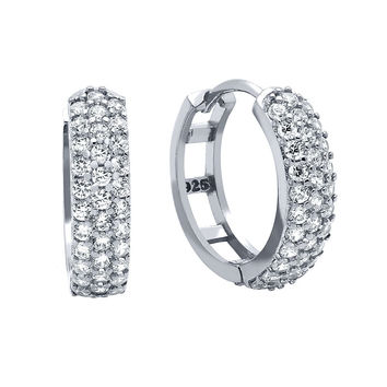 .925 Sterling Silver Nickel Free Rhodium Plated 17mm Round Huggie Earrings With Tripple Row Cubic Zirconia Pave