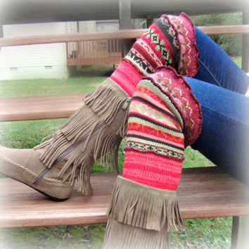 Leg Warmers, Tribal Print, Upcycled Clothing, Boot Socks, Tribal Print Leggings, Gift for Her
