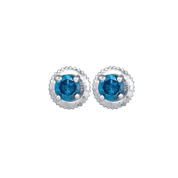 10kt White Gold Womens Round Blue Colored Diamond Solitaire Stud Earrings 1/4 Cttw