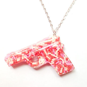 Sprinkle Gun Necklace/Cute Resin Pendant/Sprinkles/Pink