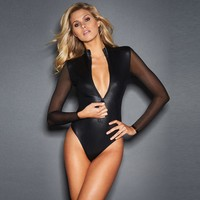Women Black lace mesh long sleeve faux leather bodysuit catsuit hot girl bodycon bandage jumpsuit playsuit club wear