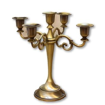 Silver/Gold/Black/Bronze Metal Candle Holder 5-arms Candle Stand