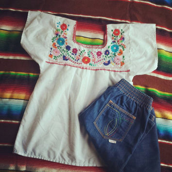 Mexican embroidered top/ vintage hippie embroidery peasant style blouse/  bright flower embroidery shirt size