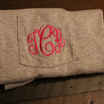 Monogram Pocket Tees Greek Letter Embroidery by SunbirdWay on Etsy