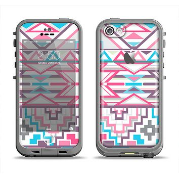 The Vector Pink & White Modern Aztec Pattern Apple iPhone 5c LifeProof Fre Case Skin Set