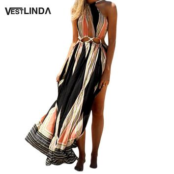 VESTLINDA Ethnic Printed Bohemian Women Summer Boho Split Long Dress Wrap Hollow Out Sleeveless Backless Women Maxi Beach Dress