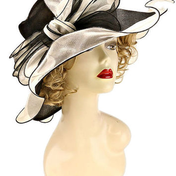 Kentucky Derby Church Wedding Tea Party Organza Ribbed Bow Wide Brim Summer Hat - Black & White Two Tone