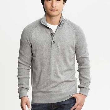 Banana Republic Mens Half Zip Four Button Pullover Size XS - Light grey heather