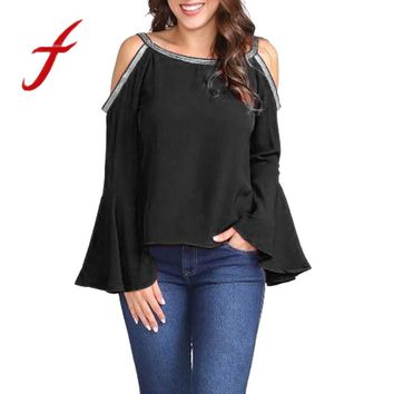 Feitong Fashion Women Blouses Solid Casual Glitter Sexy Cold Shoulder Long Flare Sleeve Tops And Blouse Blusas feminina 2018 New