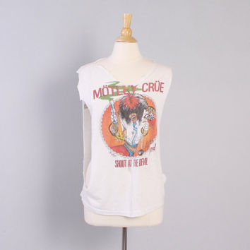 Vintage 80s MOTLEY CRUE T-SHIRT / 1980s Shout at the Devil Allister Fiend 1983 Concert 84 Tour Cut Off Tank