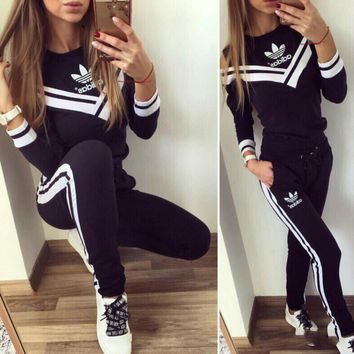 ADIDAS Off-Shoulder Stripe V Neck Two Piece Suit Sports Set B104505-1 Black