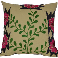 Green Vine Suzani Pillow