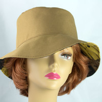 Summer Beach Hat in Neutral Tan with Medium-Wide Floppy Brim | Reversible to Black Brown | Rain Proof