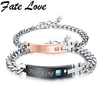 "Cool Fate Love""His Queen""""Her King""Couple Bracelet with Crytal Stone Boyfriend Girlfriend Lover Jewelry Exquisite Gift Dropship GS884AT_93_12"