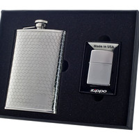 Hive 8oz Flask and Zippo Lighter Gift Set