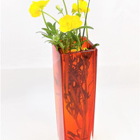 Red Glass Bud Vase, Translucent, Sanyo Glass Vase, Made in Japan, Vintage Vases