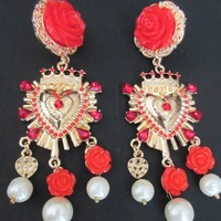 Amazing Sicily Style Red Camellia Flower Golden Heart & Creamy Faux Pearl Earrings Very Frida Kahlo