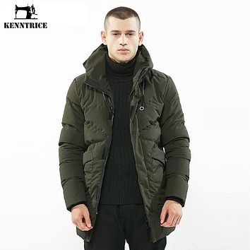 KENNTRICE Winter Jacket Men Long Parka Men Knit Cuffs Jackets Quilted Winter Coat Male Parkas Mens Padded Windproof Warm Jacket