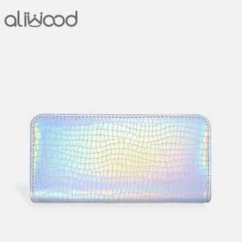 Aliwood Mermaid Laser Women Wallet Alligator Crocodile Leather Clutch Hologram Long Purse Gradient Colour Female Wallet Carteira
