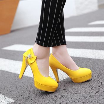 YMECHIC White Yellow High Heel Wedding Shoes Woman Big Size Butterfly-knot Summer Spring Party Pumps Platform High Heels 2018