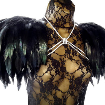Feather epaulettes - large black epaulettes and adjustable crystal body harness chain